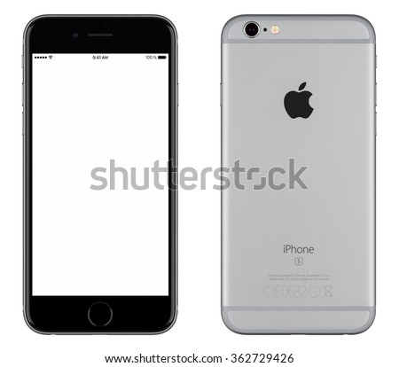 Varna, Bulgaria - October 24, 2015: Front view of Space Gray Apple iPhone 6S mockup with white screen and back side with Apple Inc logo. Isolated on white. - stock photo