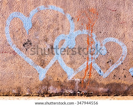 VARNA - 18 November: Detail of graffiti on a concrete wall. Grungy concrete surface with cracks, scratches and streaks of paint. November 18, 2015 in Varna, Bulgaria
