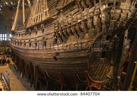 Vasa warship. Swedish warship that was built from 1626 to 1628. - stock photo