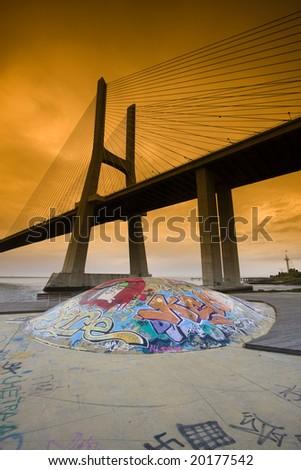 Vasco da Gama Bridge, Taken in Lisbon, Portugal - stock photo