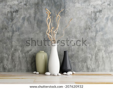 vase ceramics on wooden and concrete wall background - stock photo