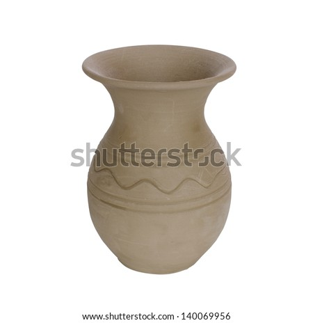 Vase from unburnt clay, isolated on the white - stock photo