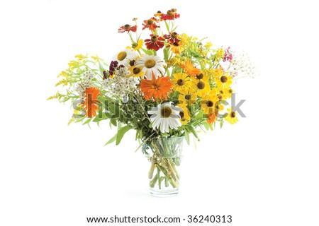 vase of beauty fresh flowers on the white background - stock photo