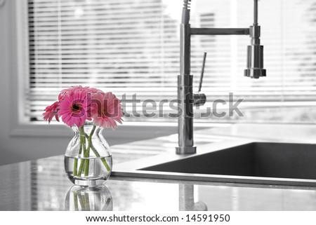 vase of daisies & kitchen sink - partially toned - stock photo