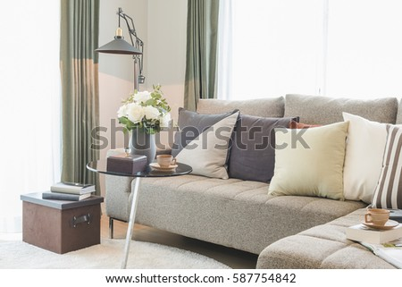 Vase Of Flower On Round Glass Table With Set Of Sofa In Modern Living Room  Interior Part 96