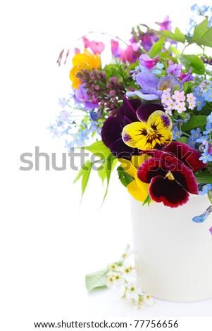 Vase of summer flowers white isolated background - stock photo