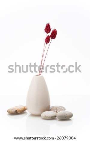 vase with dried flowers and pebbles