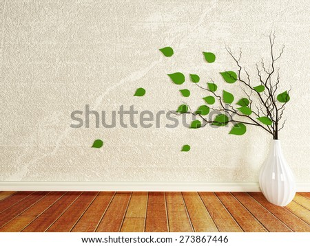 vase with the branches in the room - stock photo