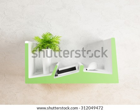 vase with the plant , 3d rendering
