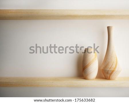 vase wood on shelf decorate design - stock photo