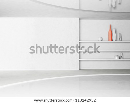 vases on the shelf in the room - stock photo