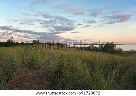 Vast and endless peaceful dune grass scene under pink and purple cloudy skies with endless.  Copyspace for wording and text.