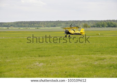 VASTERAS, SWEDEN - 20 MAY: Scandinavian airshow with Grumman G164A . The official name is airshow and org are Vasteras flygmuseum at Vasteras, Sweden May 20, 2012