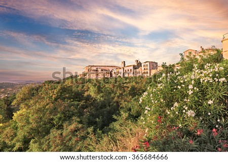 Vasto, Abruzzo, Italy: landscape at dawn of the old town under a dramatic cloudy sky and with oleander flowers in foreground