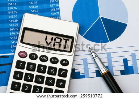 vat concept displayed on calculator - stock photo