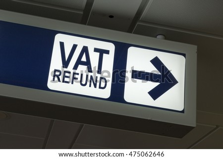 VAT Refund sign in Fiumicino airport, Rome