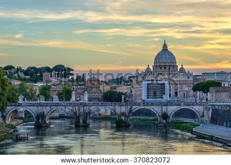 Vatican and Rome city skyline with Saint Peter Basilica when sunset, Vatican, Rome, Italy