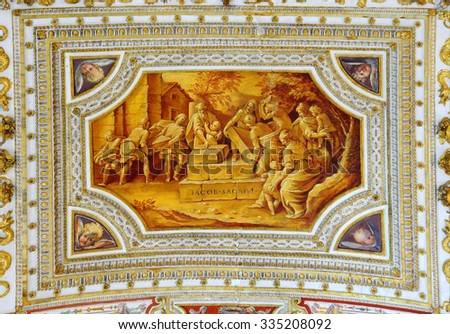 VATICAN -?? APRIL 29, 2014: Detail of the ceiling in one of the galleries of the Vatican Museums - stock photo