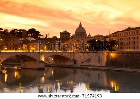 Vatican at sunset, Rome - stock photo
