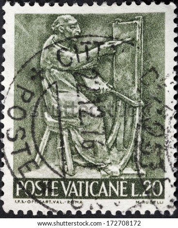 VATICAN - CIRCA 1966: A postage stamp printed in the Vatican shows kind of arts - painting, circa 1966 - stock photo
