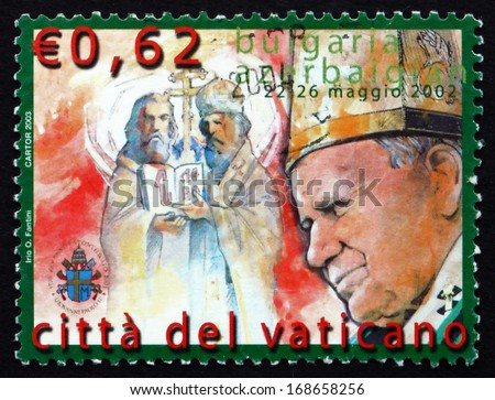 VATICAN - CIRCA 2003: a stamp printed in the Vatican shows Travels of Pope John Paul II, Bulgaria and Azerbaijan, circa 2003 - stock photo