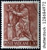 VATICAN - CIRCA 1966: A stamp printed in Vatican shows Bas reliefs of arts and crafts, sculptor, circa 1966 - stock photo