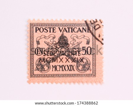 "VATICAN CITY, CIRCA 1939 - Mail stamp originally from 1929 reading ""Sede vacante"" (vacant seat) overprinted, released after the death of Pope Pius XI  in 1939 - stock photo"