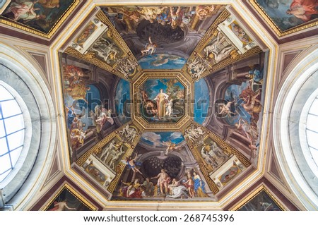 VATICAN CITY, ITALY - APRIL 16, 2013:  Ceiling fresco depicting Apollo and Muses, Sala delle Muse, Room of the Muses, Vatican Museum Pio-Clementino. Vatican City, Rome, Italy - stock photo