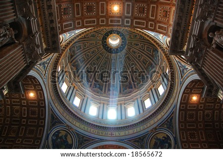 VATICAN CITY - JULY 2008: Light enters the dome of St Peters Basilica - stock photo