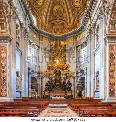 VATICAN CITY, ROME-JUNE 14  :interior of St Peters Basilica one of the holiest Catholic in Vatican City on June 14, 2013. St. Peters is the most famous of Renaissance architecture in Europe. - stock photo