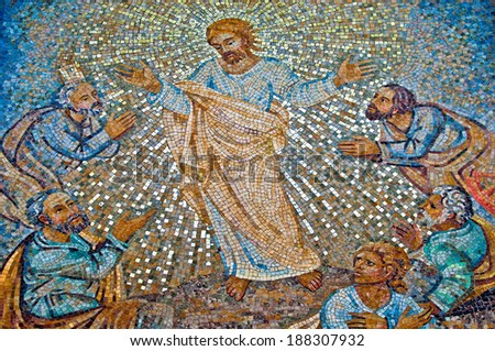 VATICAN CITY - SEPTEMBER 21: Christ and His Disciples mosaic in the St. Peter's Basilica on September 21, 2013 in Vatican City, Italy. - stock photo