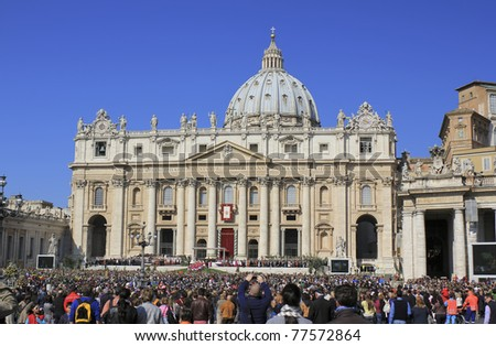 VATICAN CITY, VATICAN - APRIL 17: Palm Sunday Mass held by Pope Benedict XVI on April 17, 2011 in Vatican City, Vatican.