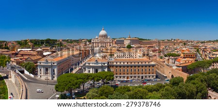 VATICAN CITY, VATICAN - JUNE, 2012: Saint Peter's Square and Vatican aerial view. Massive plaza located directly in front of St. Peter's Basilica, west of the neighborhood rione of Borgo. - stock photo