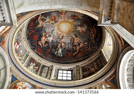 VATICAN CITY, VATICAN - MAY 03, 2013: Ceiling art in a dome of the Vatican Muesums