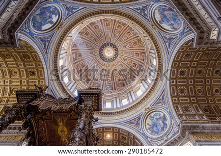 VATICAN CITY, VATICAN MAY 9, 2015 : interiors and architectural details of Basilica of saint Peter, MAY 9, 2015, in Vatican city, Vatican