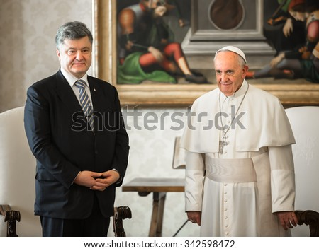 VATICAN CITY, VATICAN  - Nov 20, 2015: President of Ukraine Petro Poroshenko and Pope Francis, during a meeting in Vatican