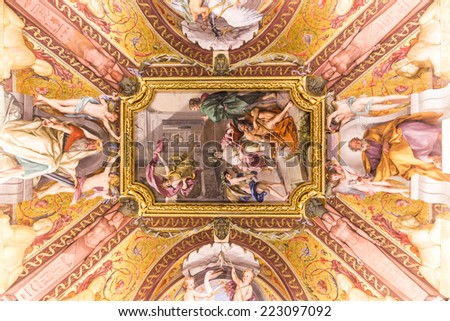 VATICAN - JUNE 09, 2014: The ceiling in one of the rooms of Raphael (Stanze di Raffaello) in the Vatican Museum, Rome, Italy. - stock photo