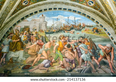 VATICAN - MAY 14, 2014: Battle of Ostia. The fresco of the 16th century in one of the rooms of Raphael (Stanze di Raffaello) in the Vatican Museum. - stock photo