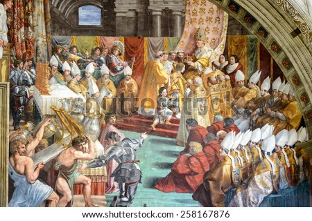 VATICAN - MAY 14, 2014: The Coronation of Charlemagne. The fresco of the 16th century in one of the rooms of Raphael (Stanze di Raffaello) in the Vatican Museum. - stock photo