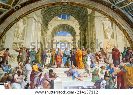 VATICAN - MAY 14, 2014: The School of Athens. The fresco of the 16th century in one of the rooms of Raphael (Stanze di Raffaello) in the Vatican Museum. - stock photo