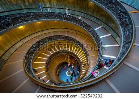 VATICAN - Oct 18:Visitors at the Vatican Museums on Oct 18 2016, Spiral Staircase, Vatican Museum, Rome, Italy