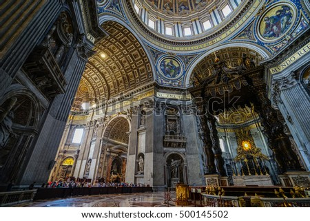 VATICAN,ROME, ITALY - JULY 8, 2016: Sculptural decoration on the wall of central nave in interior of the St. Peter's Cathedral. Europe.