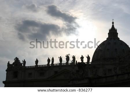 Vatican St. Peter's Basilica silhouette. - stock photo