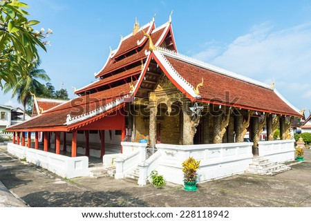 Vatmay Souvannapoumaram temple complex, one of the Buddha complexes in Luang Prabang which is the UNESCO World Heritage city