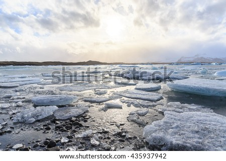 vatnajokull Glacier Jokulsarlon lagoon in Iceland - stock photo