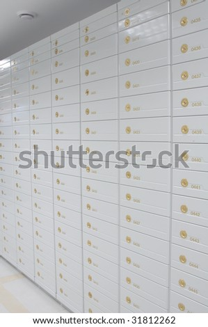 Vault of safe deposit boxes - stock photo