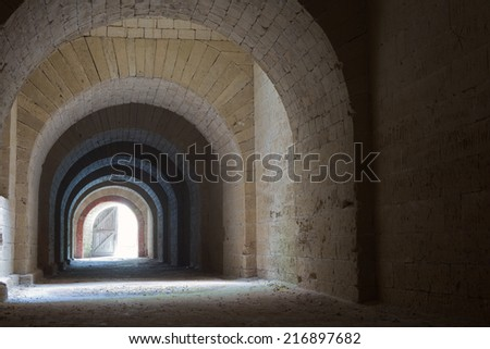 Vaulted corridor - stock photo