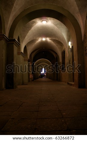 vaulting, old market at night, Poland