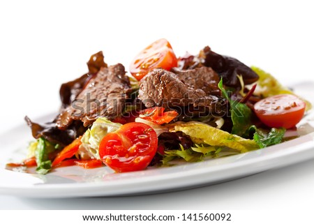 Veal and Mushrooms Salad with Mixed Salad Leaves and Cherry Tomato