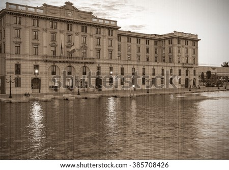 Vecherny Grand - Canal, Venice. Old style, sepia - stock photo